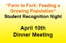 Student Recognition Night<br/>April 10 Dinner Meeting<br/>Register Now!