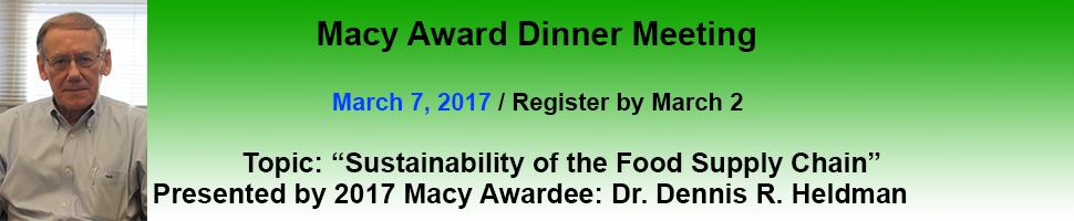 March 2017 Dinner Meeting – Macy Award Night